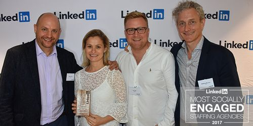 Team Talent receiving LinkedIn's Most Socially Engaged Staffing Agency award 2017